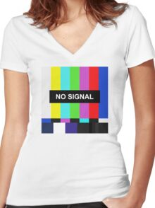 No Signal TV screen Women's Fitted V-Neck T-Shirt