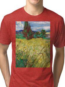 1889-Vincent van Gogh-Green Field-73,5x92,5 Tri-blend T-Shirt