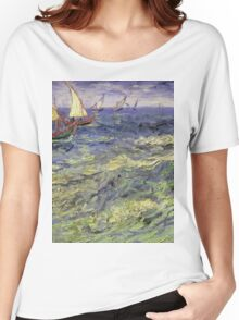 Vincent Van Gogh - Seascape At Saintes-Maries View Of Mediterranean .  Seascape. Van Gogh -Seascape Women's Relaxed Fit T-Shirt