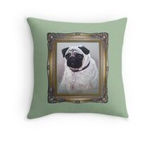 Charlotte Jane pug Portrait Throw Pillow