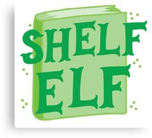 SHELF ELF with books (librarian book putting away assistant) Canvas Print