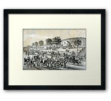 Fast trotters on Harlem Lane NY - 1870 - Currier & Ives Framed Print