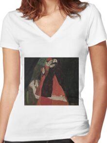 Egon Schiele - Cardinal and Nun Caress 1912  Egon Schiele  Kiss  Women's Fitted V-Neck T-Shirt