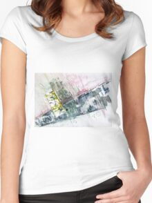 The Steel Jungle, Manhattan - Original Wall Modern Abstract Art Painting Original mixed media Women's Fitted Scoop T-Shirt
