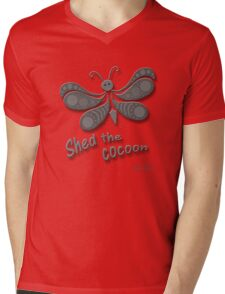Shed The Cocoon - Black on White Mens V-Neck T-Shirt