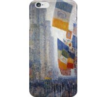 Childe Hassam - Lincoln s Birthday Flags 1918 American Impressionism Landscape iPhone Case/Skin
