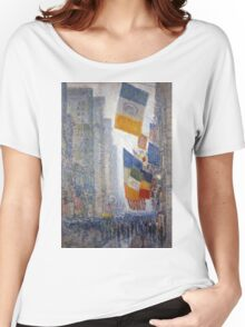 Childe Hassam - Lincoln s Birthday Flags 1918 American Impressionism Landscape Women's Relaxed Fit T-Shirt