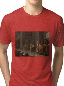 Cornelis Saftleven - Who sues for a cow 1629 Tri-blend T-Shirt