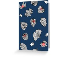 Blue Physalis and skeleton leaves Greeting Card