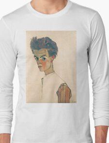 Egon Schiele - Self-Portrait with Striped Shirt 1910  Expressionism  Portrait Long Sleeve T-Shirt