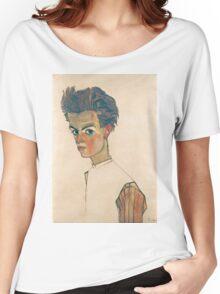 Egon Schiele - Self-Portrait with Striped Shirt 1910  Expressionism  Portrait Women's Relaxed Fit T-Shirt