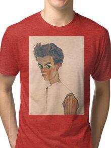 Egon Schiele - Self-Portrait with Striped Shirt 1910  Expressionism  Portrait Tri-blend T-Shirt