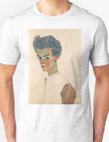 Egon Schiele - Self-Portrait with Striped Shirt 1910  Expressionism  Portrait Unisex T-Shirt