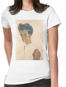 Egon Schiele - Self-Portrait with Striped Shirt 1910  Expressionism  Portrait Womens Fitted T-Shirt