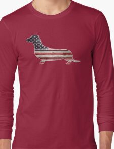 Patriotic Dachshund Dog, American Flag Long Sleeve T-Shirt
