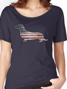 Patriotic Dachshund Dog, American Flag Women's Relaxed Fit T-Shirt