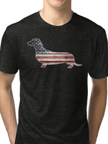 Patriotic Dachshund Dog, American Flag Tri-blend T-Shirt