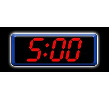 Digital Clock 5:00, 5, Five, Fifth, Time, Cool, Retro, Old School, Photographic Print