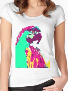 Exotic Neon Colorful Parrot Bird Women's Fitted Scoop T-Shirt