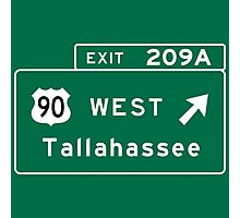 Tallahassee, FL Road Sign, USA Photographic Print