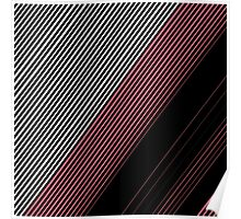 Modern Red White and Black Stripes Pattern Poster