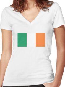 Irish Flag Women's Fitted V-Neck T-Shirt