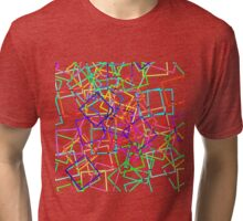 Bright Neon Modern Square Geo Pattern Tri-blend T-Shirt