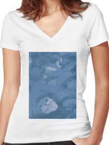 Open Screen Print Surface Graphic Women's Fitted V-Neck T-Shirt