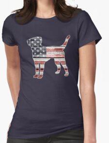 Patriotic Labrador Retriever, American Flag Womens Fitted T-Shirt