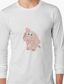 Pink Cartoon Elephant Long Sleeve T-Shirt