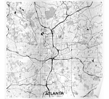 Atlanta City Map Gray Poster