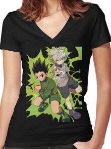 Killua and Gon Hunter X Hunter Women's Fitted V-Neck T-Shirt