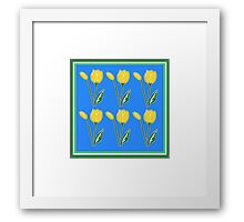 Yellow Tulips with Blue Pattern Framed Print