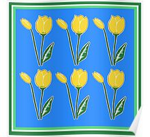 Yellow Tulips with Blue Pattern Poster