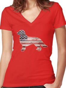 Patriotic Golden Retriever, American Flag Women's Fitted V-Neck T-Shirt