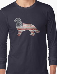 Patriotic Golden Retriever, American Flag Long Sleeve T-Shirt