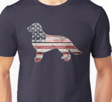 Patriotic Golden Retriever, American Flag Unisex T-Shirt