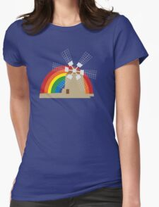 Windmill at a rainbow background Womens Fitted T-Shirt