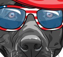 Smiling black hipster dog Labrador Retriever  Sticker