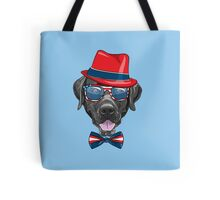Smiling black hipster dog Labrador Retriever  Tote Bag