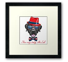 Smiling black hipster dog Labrador Retriever  Framed Print