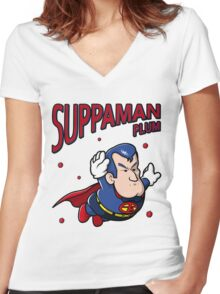Suppaman plum Women's Fitted V-Neck T-Shirt