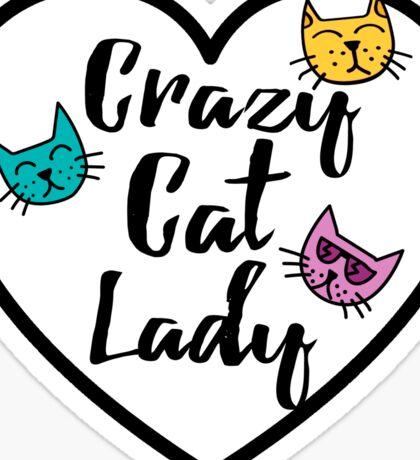 Crazy Cat Lady Heart Sticker Girly Love Sticker