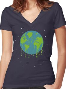 global warming tshirt Women's Fitted V-Neck T-Shirt