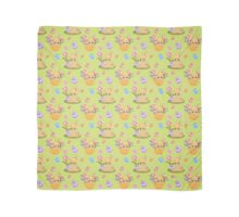Cartoon Easter Bunny, Eggs and Spring Flowers Scarf