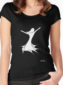 Flamenco - White on Black Women's Fitted Scoop T-Shirt