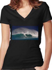 Surfer at Sunset Beach 2 Women's Fitted V-Neck T-Shirt