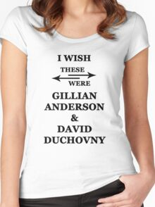 I wish these were Gillian Anderson and David Duchovny Women's Fitted Scoop T-Shirt
