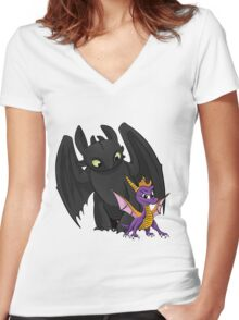 Spyro and Toothless Women's Fitted V-Neck T-Shirt
