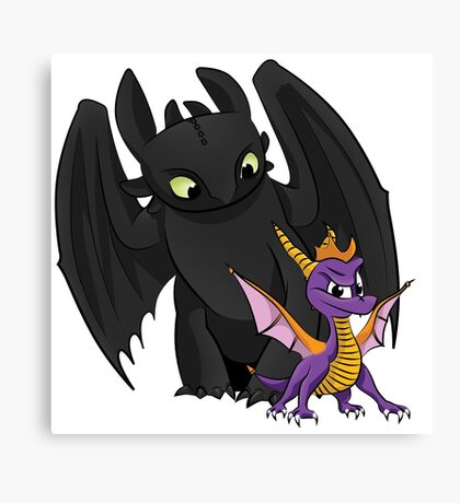 Spyro and Toothless Canvas Print